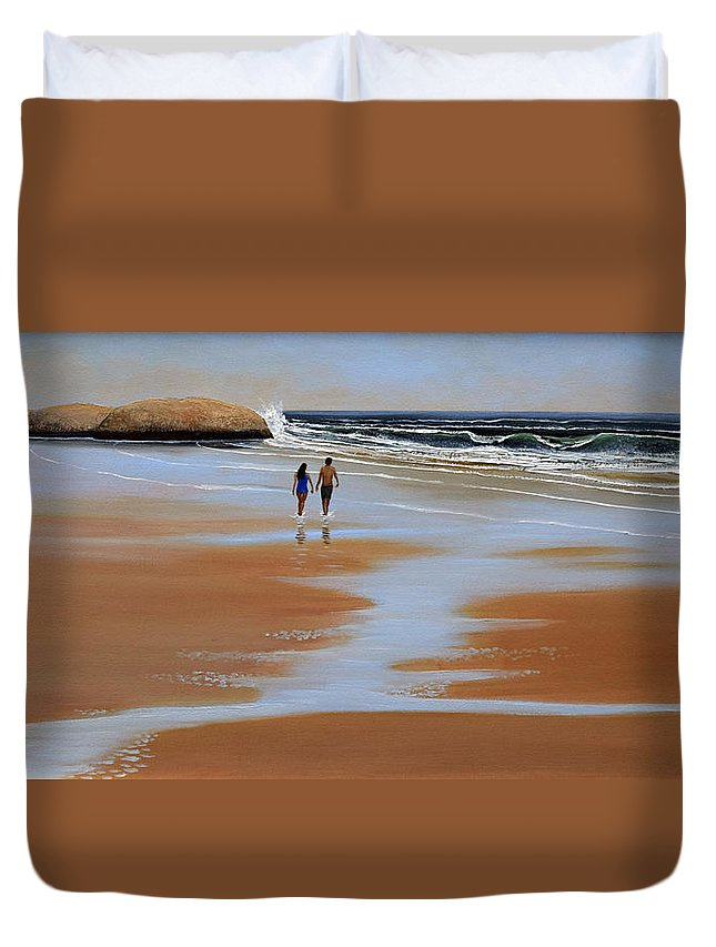Beach Duvet Cover featuring the painting Walking The Beach by Frank Wilson