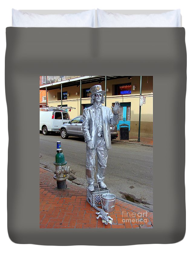 New Orleans Duvet Cover featuring the photograph Walking The Croc by Ed Weidman