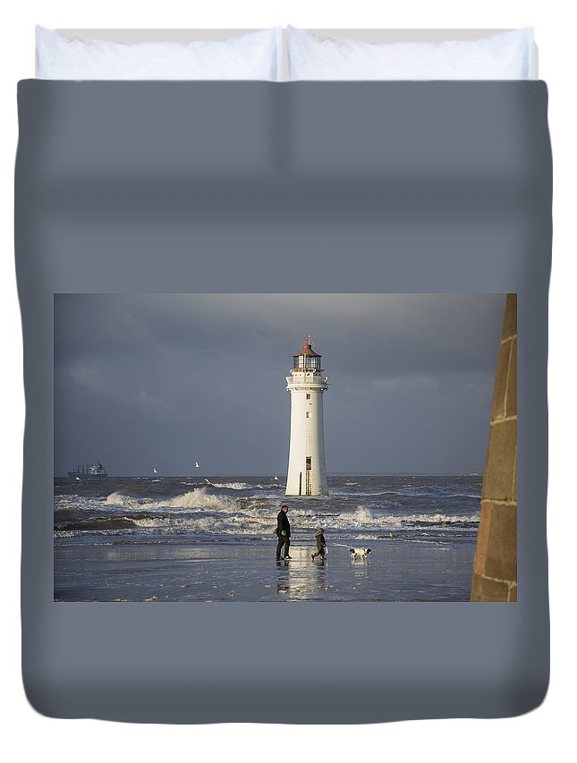 Weather Duvet Cover featuring the photograph Walking The Dog by Spikey Mouse Photography