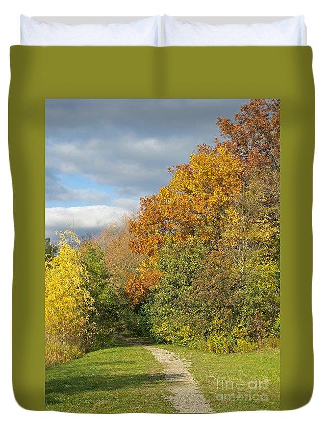 Autumn Duvet Cover featuring the photograph Walking Through Autumn by Ann Horn