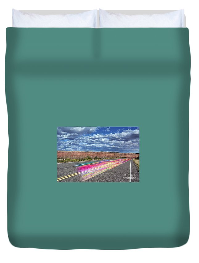 Desert Highway Duvet Cover featuring the digital art Walking With God by Margie Chapman