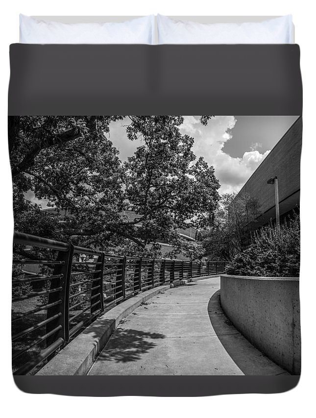 Michigan State University Duvet Cover featuring the photograph Walkway At Wharton Center by John McGraw