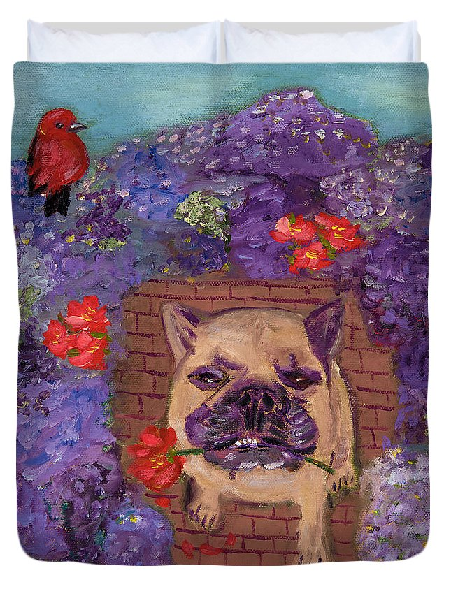 French Bulldog Duvet Cover featuring the painting Wallace In The Garden by Lesley Mills
