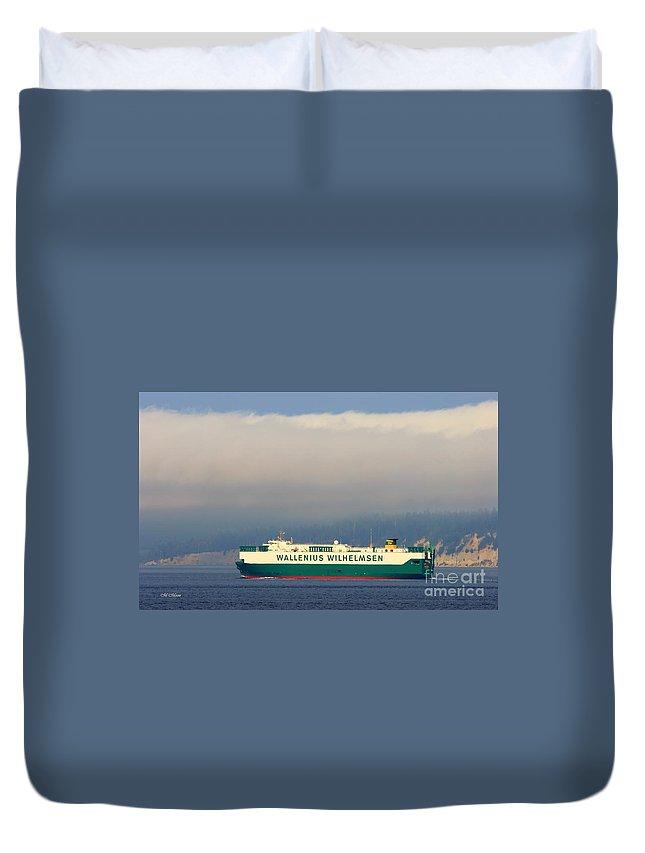 Wilhelmsen Duvet Cover featuring the photograph Wallenius Wilhelmsen Tristan Cargo Ship by Tap On Photo