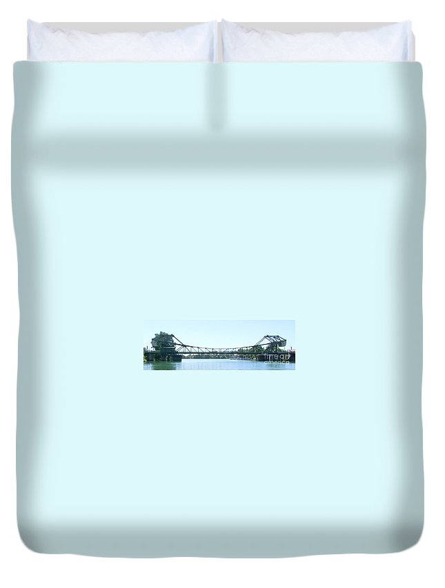 Bridge Duvet Cover featuring the photograph Walnut Grove Bridge Mural by Mary Deal