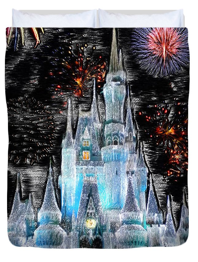 Castle Duvet Cover featuring the photograph Walt Disney World Frosty Holiday Castle by Thomas Woolworth