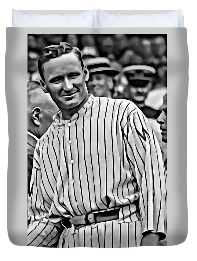 Mlb Duvet Cover featuring the painting Walter Johnson Painting by Florian Rodarte