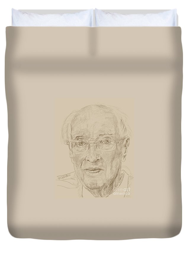 Memory Care Duvet Cover featuring the drawing Walter by PainterArtist FIN