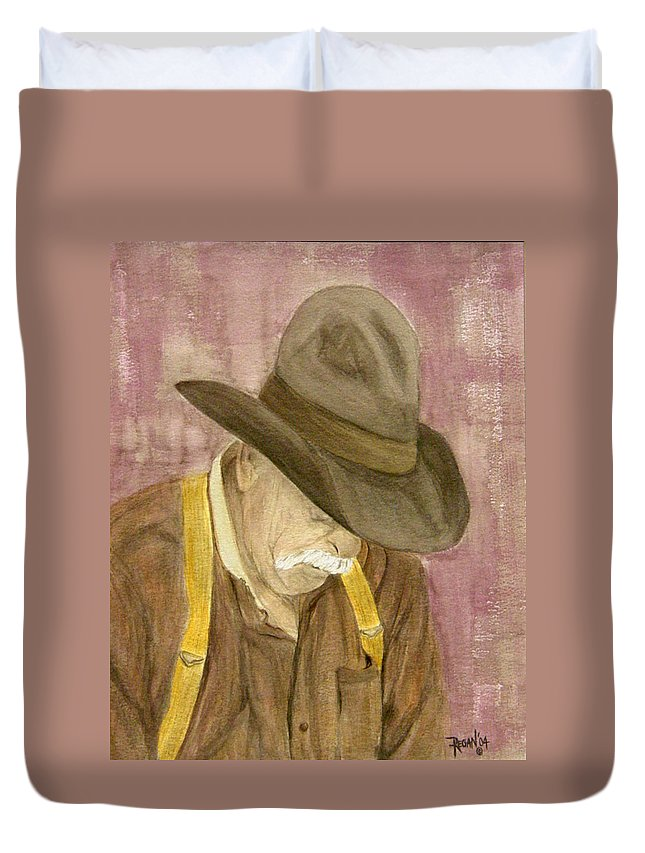 Western Duvet Cover featuring the painting Walter by Regan J Smith