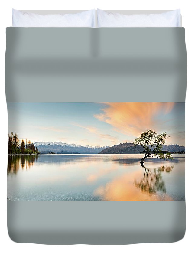 Tranquility Duvet Cover featuring the photograph Wanaka - Lone Tree Sunrise At Lake by Kathryn Diehm