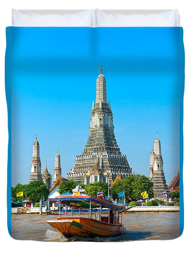 Architecture Duvet Cover featuring the photograph War Arun - Bangkok by Luciano Mortula