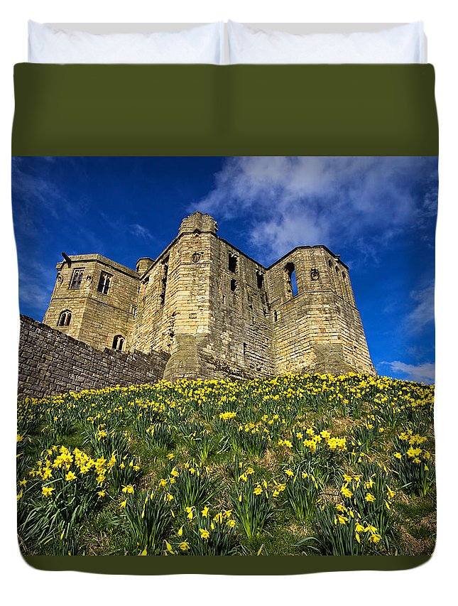 Warkworth Duvet Cover featuring the photograph Warkworth Castle In Spring by David Pringle