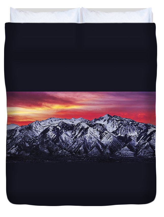 Sky Duvet Cover featuring the photograph Wasatch Sunrise 3x1 by Chad Dutson