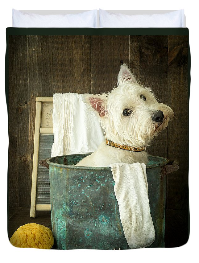 Dog Duvet Cover featuring the photograph Wash Day by Edward Fielding