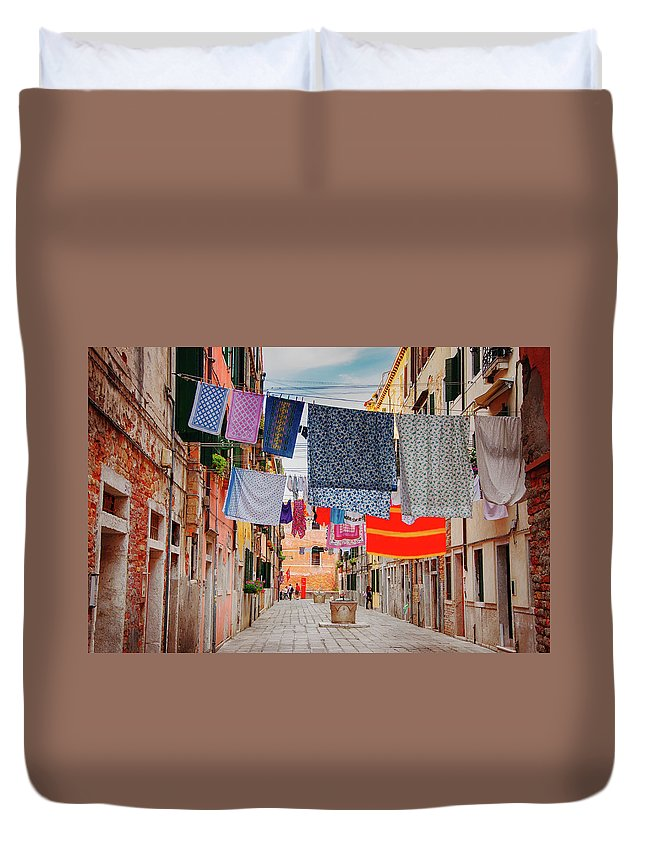 Hanging Duvet Cover featuring the photograph Washing Hanging Across Street, Venice by Svjetlana
