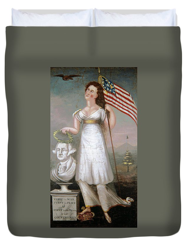 1810 Duvet Cover featuring the painting Washington & Liberty, C1810 by Granger