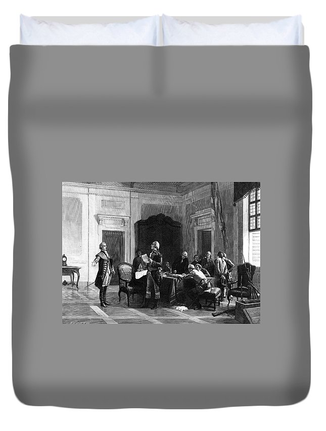 1777 Duvet Cover featuring the painting Washington And Lafayette by Granger
