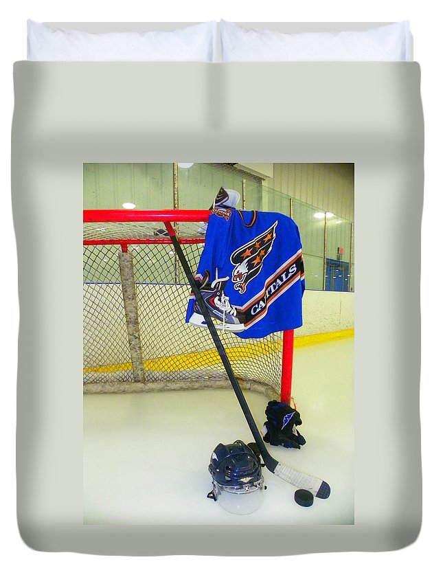 Washing Ton Capitals Duvet Cover featuring the photograph Washington Capitals Blue Away Hockey Jersey by Lisa Wooten