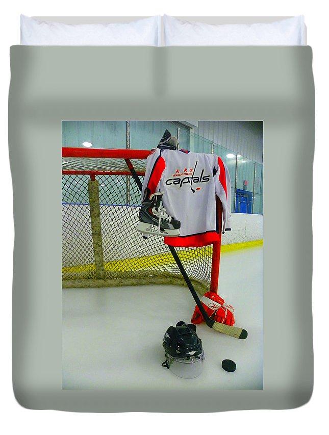 Washington Capitals Duvet Cover featuring the photograph Washington Capitals Home Hockey Jersey by Lisa Wooten