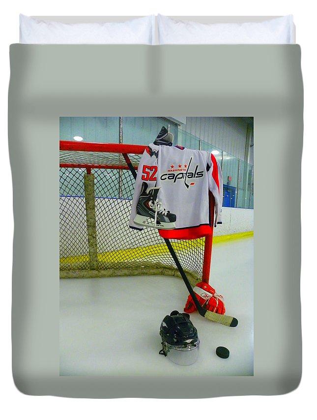 Washington Capitals Duvet Cover featuring the photograph Washington Capitals Mike Green Away Hockey Jersey by Lisa Wooten