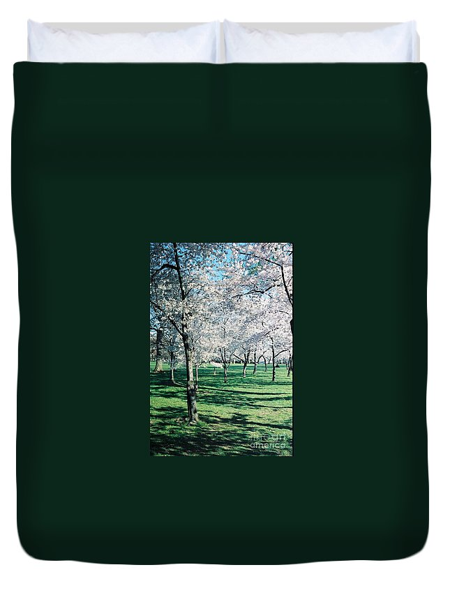 Washington Dc Duvet Cover featuring the photograph Washington Dc Cherry Blossoms by Eric Schiabor