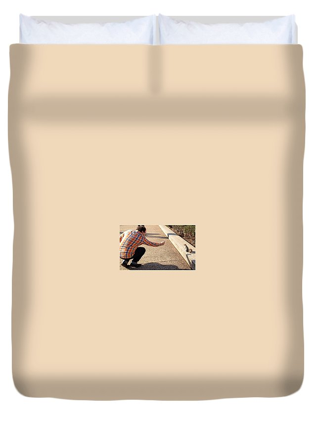 Squirrel Duvet Cover featuring the photograph Washington Dc Tourists Love Squirrels by Lois Ivancin Tavaf