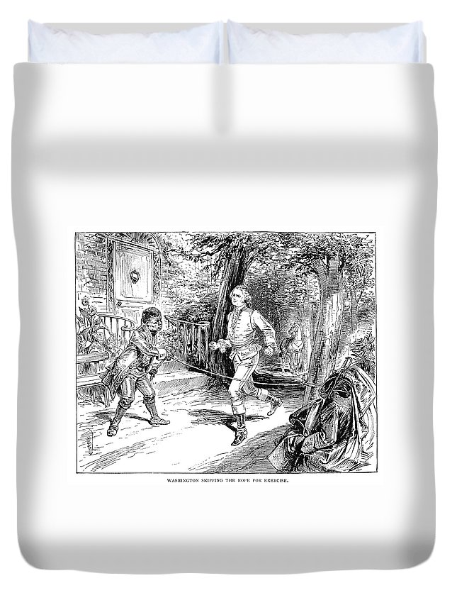 18th Century Duvet Cover featuring the drawing Washington Exercise by Granger