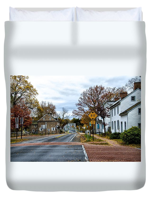 Washington's Duvet Cover featuring the photograph Washington's Crossing In The Fall by Bill Cannon