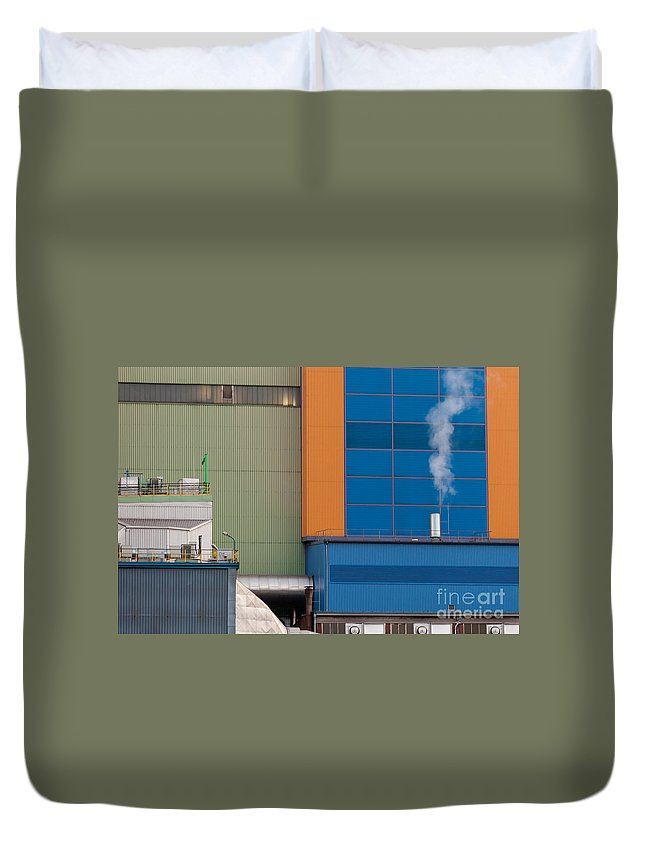 Building Duvet Cover featuring the photograph Waste-to-energy Plant Detail Oberhausen Germany by Stephan Pietzko