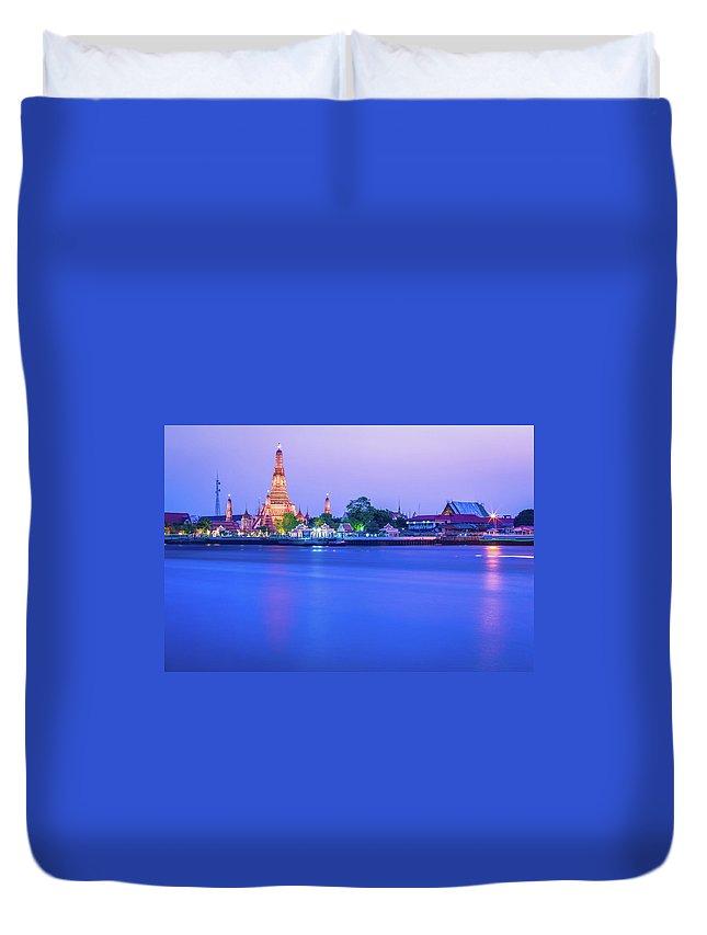 Scenics Duvet Cover featuring the photograph Wat Arun Temple Bangkok Thailand by Deimagine