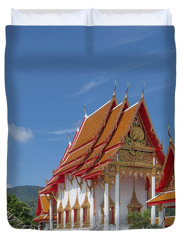 Scenic Duvet Cover featuring the photograph Wat Luang Pu Supa Ubosot Dthp323 by Gerry Gantt