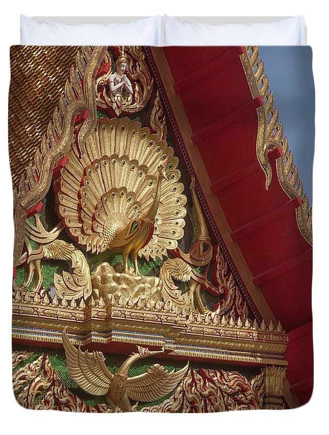 Scenic Duvet Cover featuring the photograph Wat Luang Pu Supa Ubosot Gable Dthp330 by Gerry Gantt
