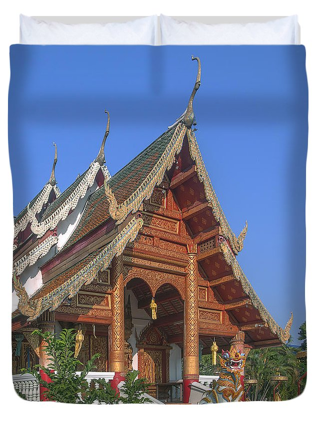 Scenic Duvet Cover featuring the photograph Wat Phuak Hong Phra Wihan Dthcm0581 by Gerry Gantt
