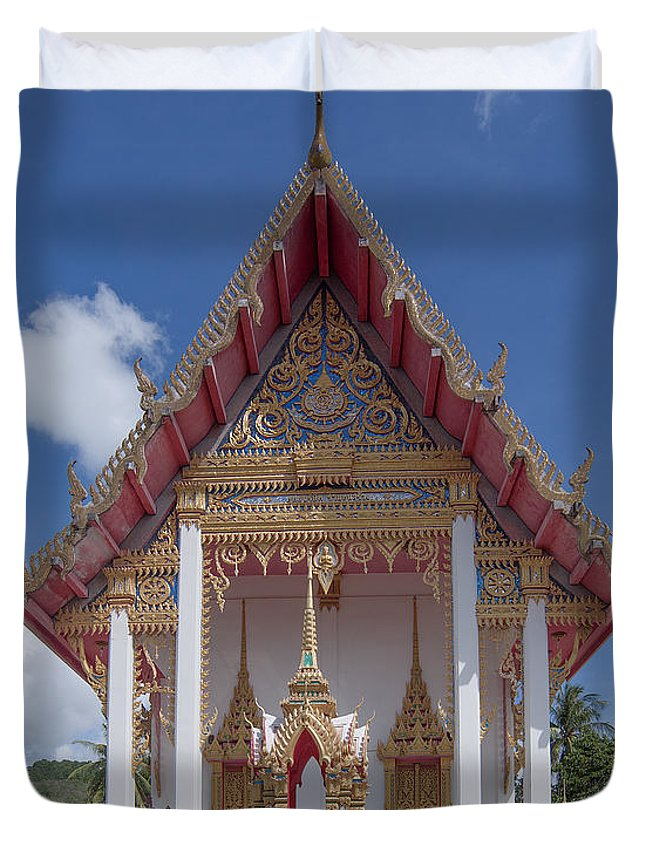 Scenic Duvet Cover featuring the photograph Wat Suwan Khiri Khet Ubosot Dthp269 by Gerry Gantt