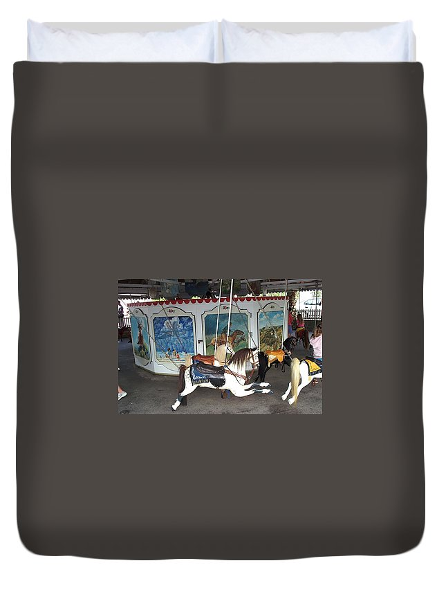 merry Go Round Duvet Cover featuring the photograph Watch Hill Merry Go Round by Barbara McDevitt