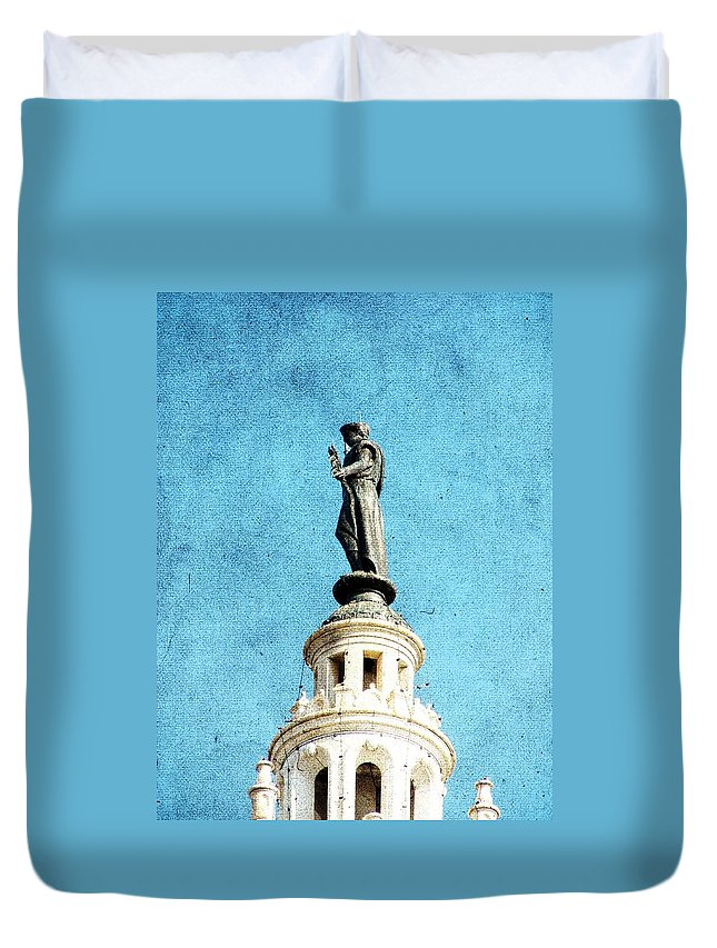 Plaza Duvet Cover featuring the photograph Watching Over The Plaza by Cassie Peters