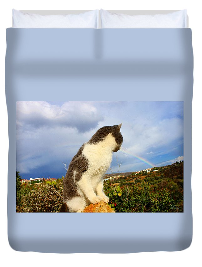 Rainbow Duvet Cover featuring the photograph Watching The Rainbow by Augusta Stylianou