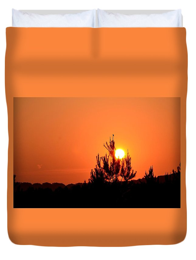 Watching The Sun Rise Duvet Cover featuring the photograph Watching The Sun Rise by Maria Urso