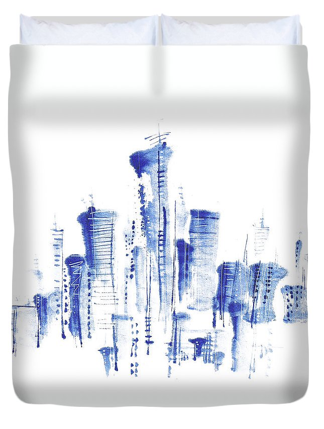 White Background Duvet Cover featuring the digital art Water-and-ink Cityscape by Bji/blue Jean Images