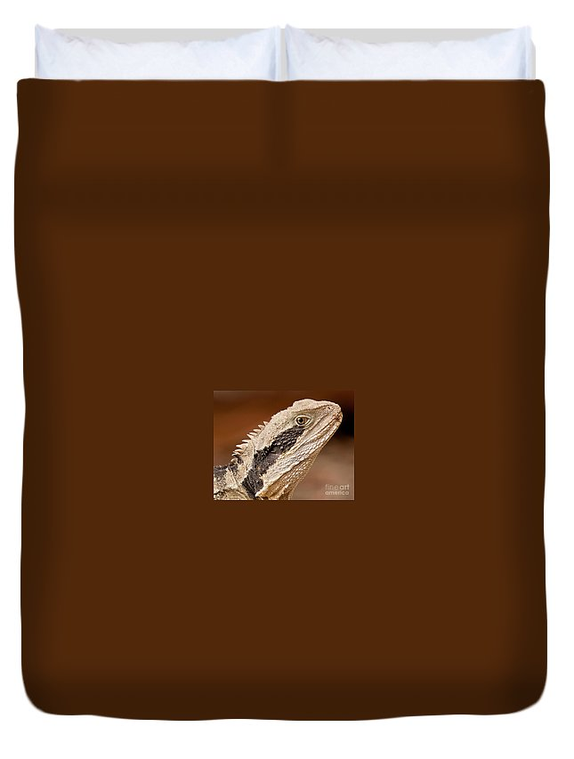 Water Dragon Duvet Cover featuring the photograph Water Dragon Close Up by Michael Nau