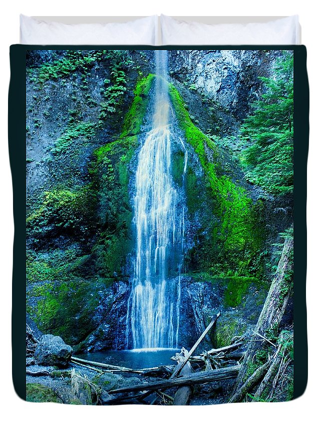 Water Falls Duvet Cover featuring the photograph Water Falls by Tom Gilbrough