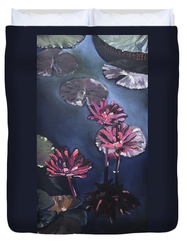 Lily Duvet Cover featuring the painting Water Lilies At Sunset by Donna Tuten