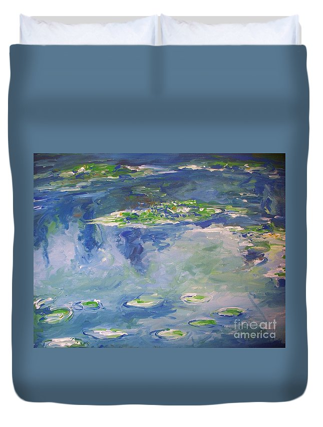 Landscapes Duvet Cover featuring the painting Water Lilies Giverny by Eric Schiabor