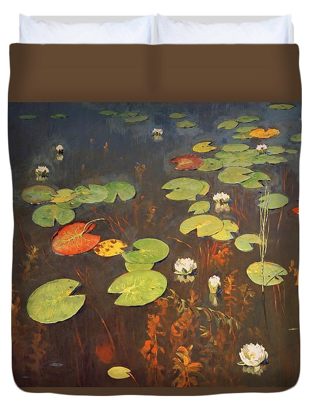 Water Lilies 1895 (oil On Canvas) Crocus; Crocuses; Lily Pad; Pond; Lake; Weed; Pond Duvet Cover featuring the painting Water Lilies by Isaak Ilyich Levitan