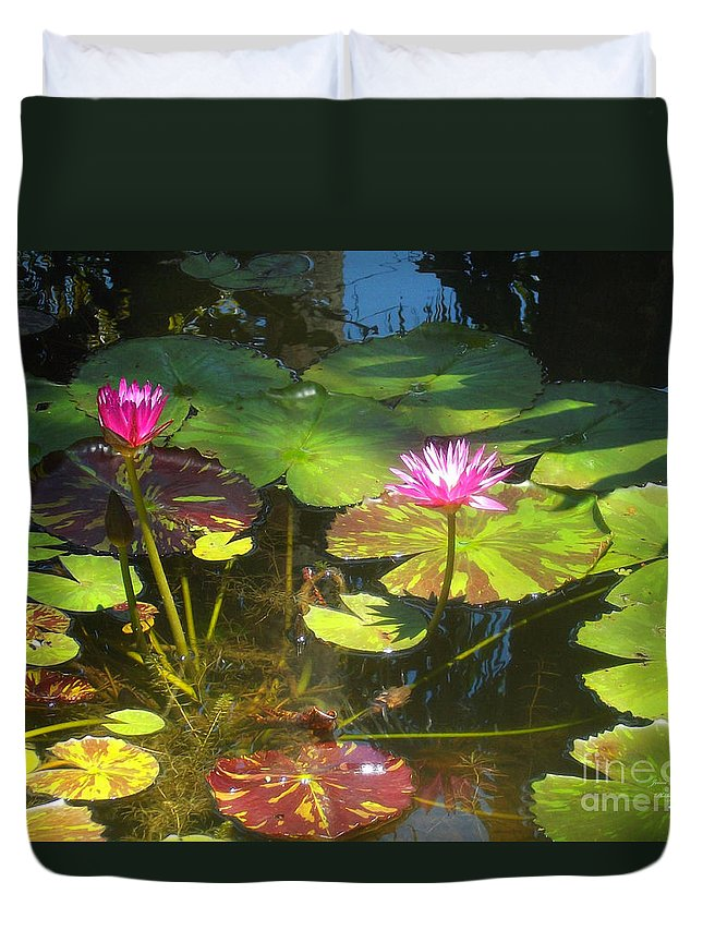 Water Duvet Cover featuring the photograph Water Lilly Garden by Jennifer Lavigne