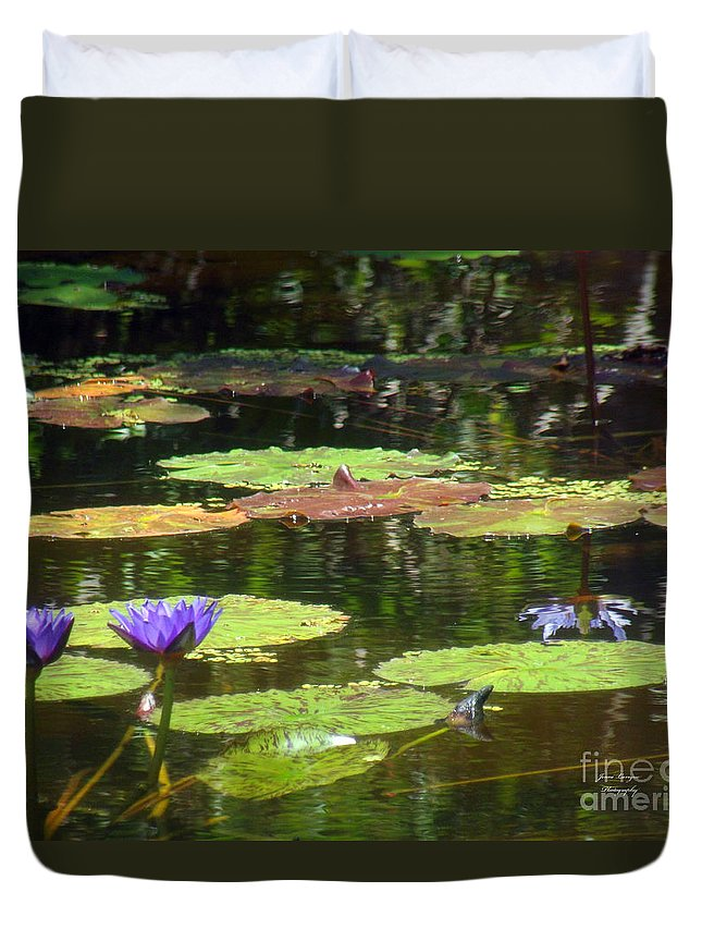 Purple Duvet Cover featuring the photograph Water Lily Garden 2 by Jennifer Lavigne