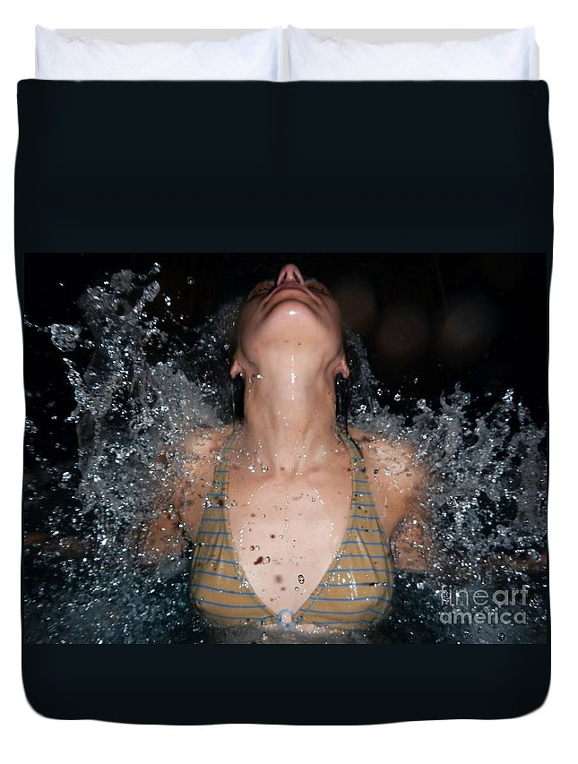 Woman Duvet Cover featuring the photograph Water by Mats Silvan