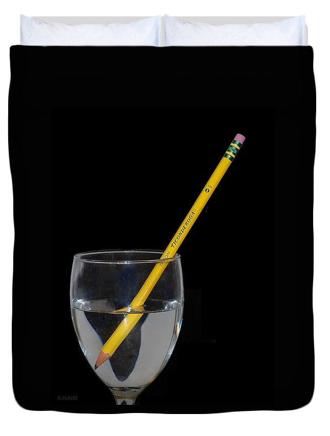 Pencil Duvet Cover featuring the photograph Water Pencil by Rob Hans