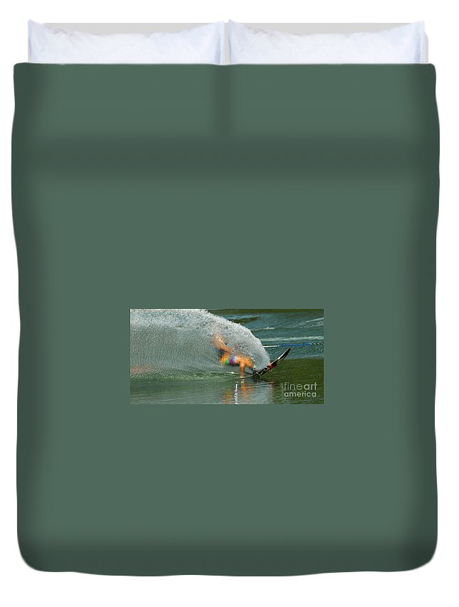 Water Skiing Duvet Cover featuring the photograph Water Skiing 5 Magic Of Water by Bob Christopher