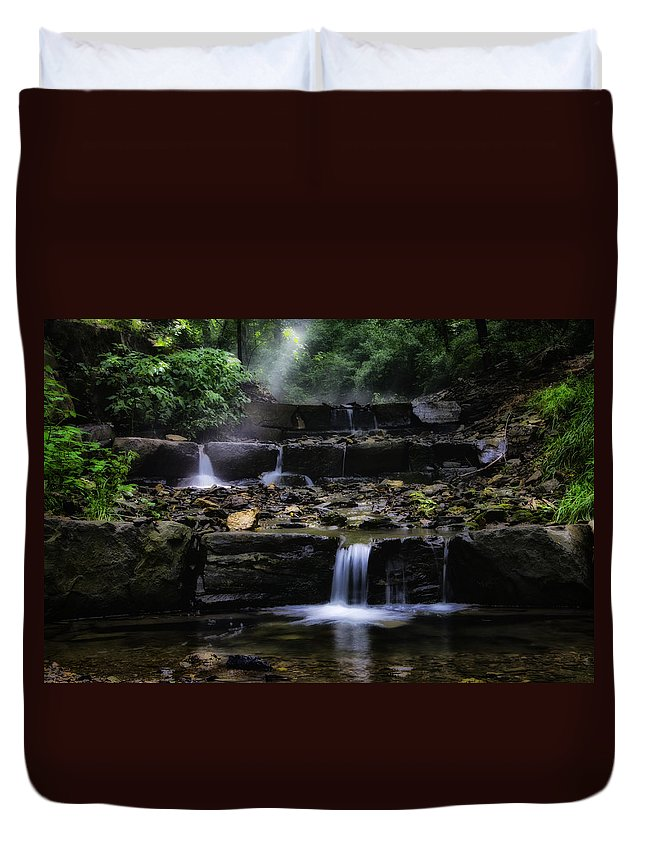 Water Duvet Cover featuring the photograph Water Steps In Fairmount Park by Bill Cannon